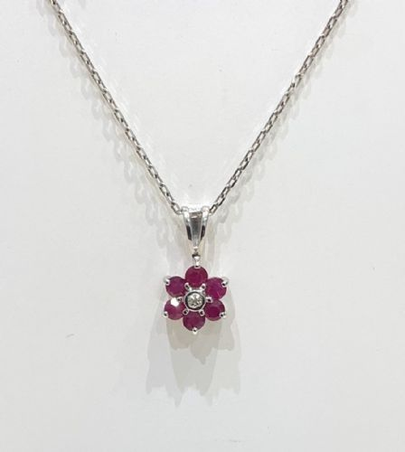 Cluster Ruby And Diamond White Gold Necklace